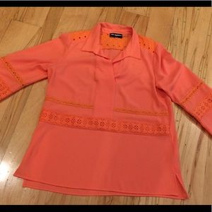 Karl Lagerfeld summery coral/orange top w/ lace
